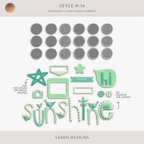 Glossy Plastic Photoshop Layer Style - Sahin Designs - CU Digital Scrapbook