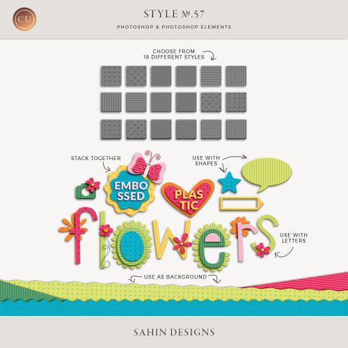 Embossed Plastic Photoshop Layer Styles - Sahin Designs - CU Digital Scrapbook