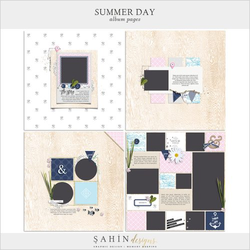 Summer Day Digital Scrapbook Album Pages - Sahin Designs