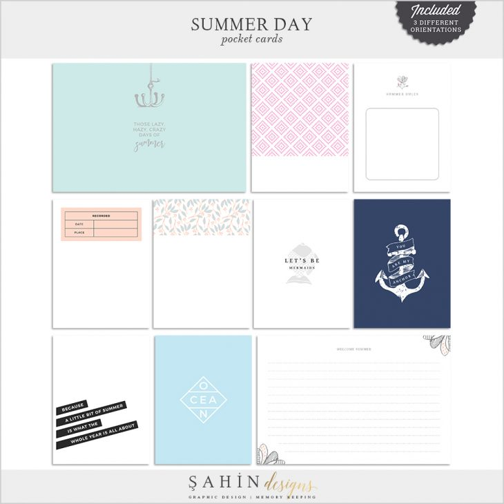Summer Day Digital Scrapbook Pocket Cards - Sahin Designs