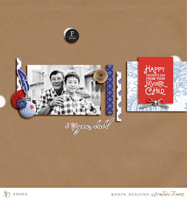 Father's Day Digital Scrapbook Layout - Sahin Designs