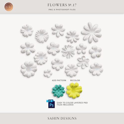 Extracted Handmade White Paper Flowers - Sahin Designs - CU Digital Scrapbook