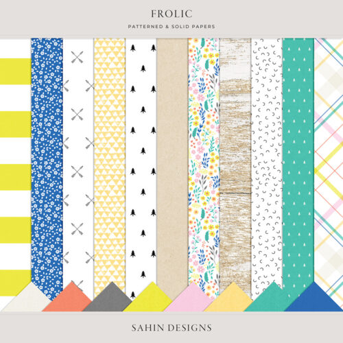 Frolic Digital Scrapbook Papers - Sahin Designs - Digital Pattern