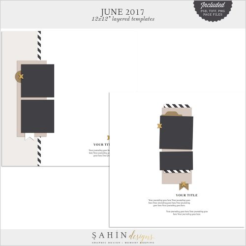 June 2017 Digital Scrapbook Layout Templates/Sketches - Sahin Designs