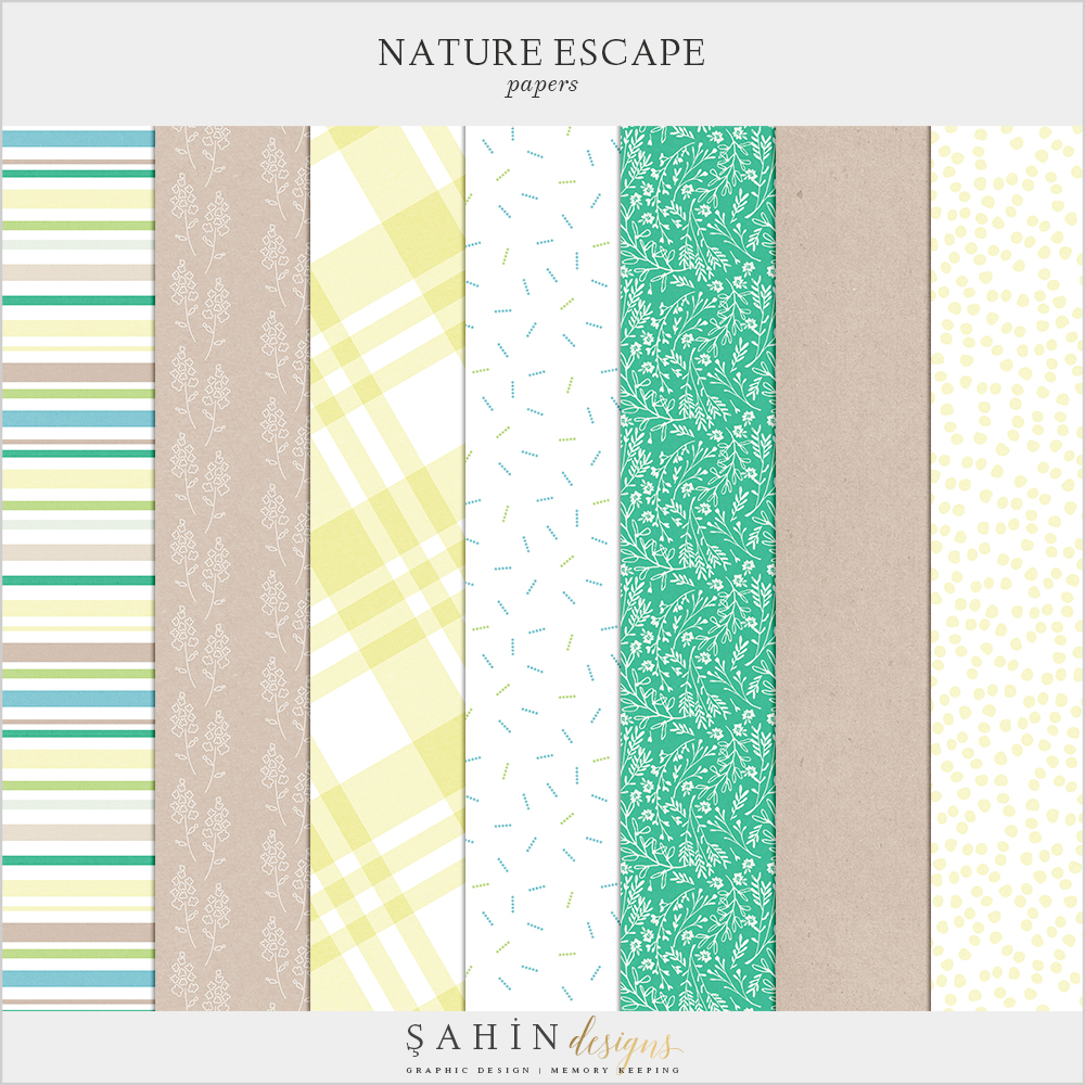 Nature Escape Free Digital Scrapbook Kit - Sahin Designs