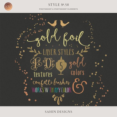 Gold foil Photoshop Layer Styles and Confetti brushes - Sahin Designs - CU Digital Scrapbook