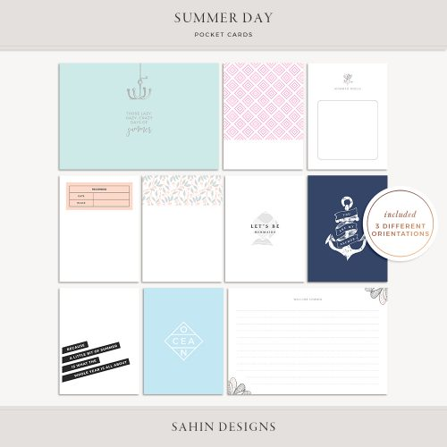 Summer Day Printable Pocket Cards - Sahin Designs