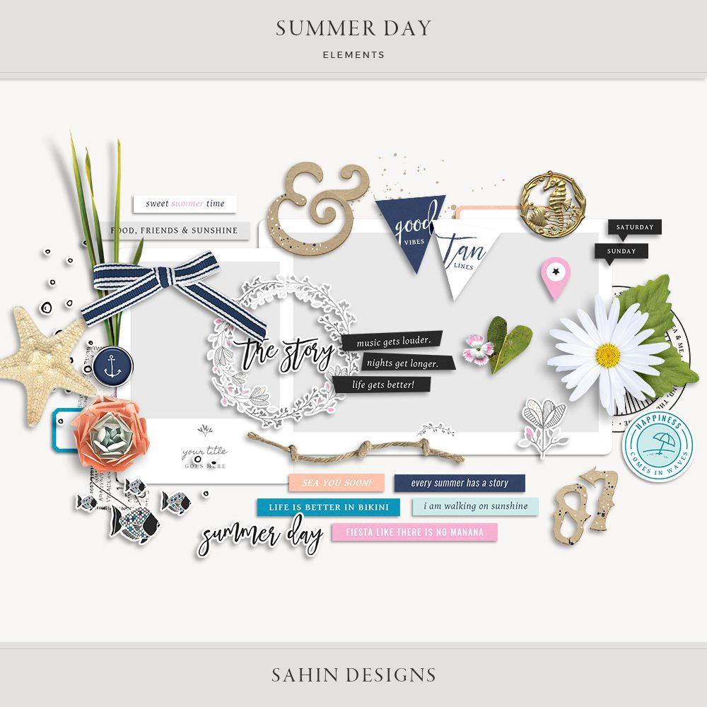 Summer Day Digital Scrapbook Elements - Sahin Designs