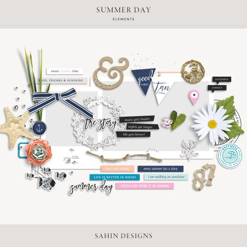 Summer Day Digital Scrapbook Elements - Sahin Designs