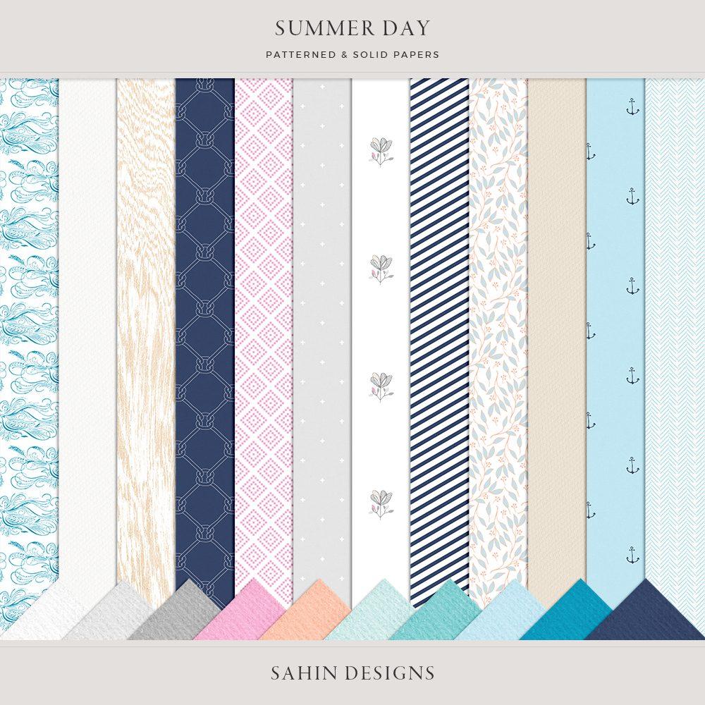 Summer Day Digital Scrapbook Papers- Sahin Designs