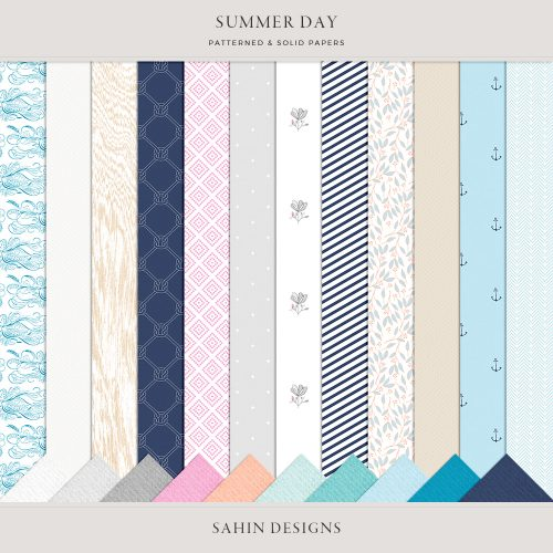 Summer Day Digital Scrapbook Papers- Sahin Designs