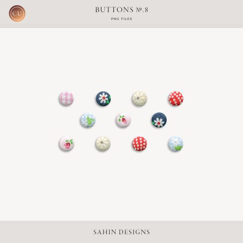 Extracted Vintage Fabric Buttons - Sahin Designs - CU Digital Scrapbook