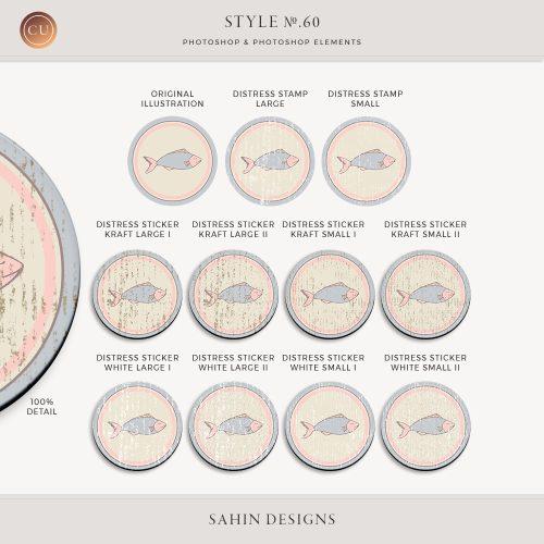 Distress Photoshop layer styles and actions - Sahin Designs - CU Digital Scrapbook
