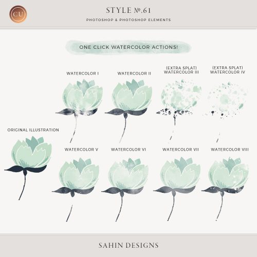 Watercolor Photoshop layer styles and actions - Sahin Designs - CU Digital Scrapbook