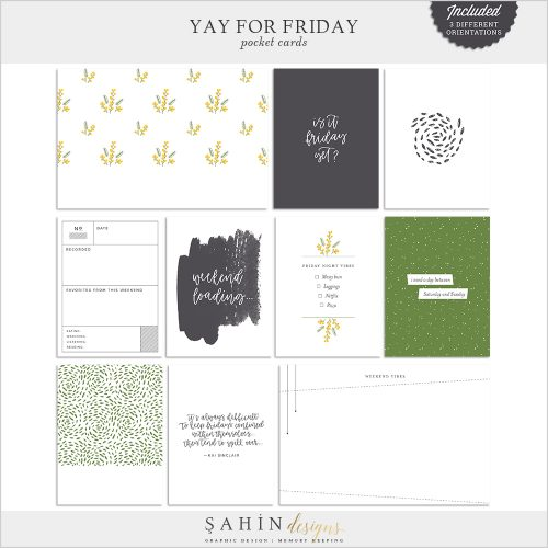 Yay for Friday Digital Scrapbook Pocket Cards - Sahin Designs