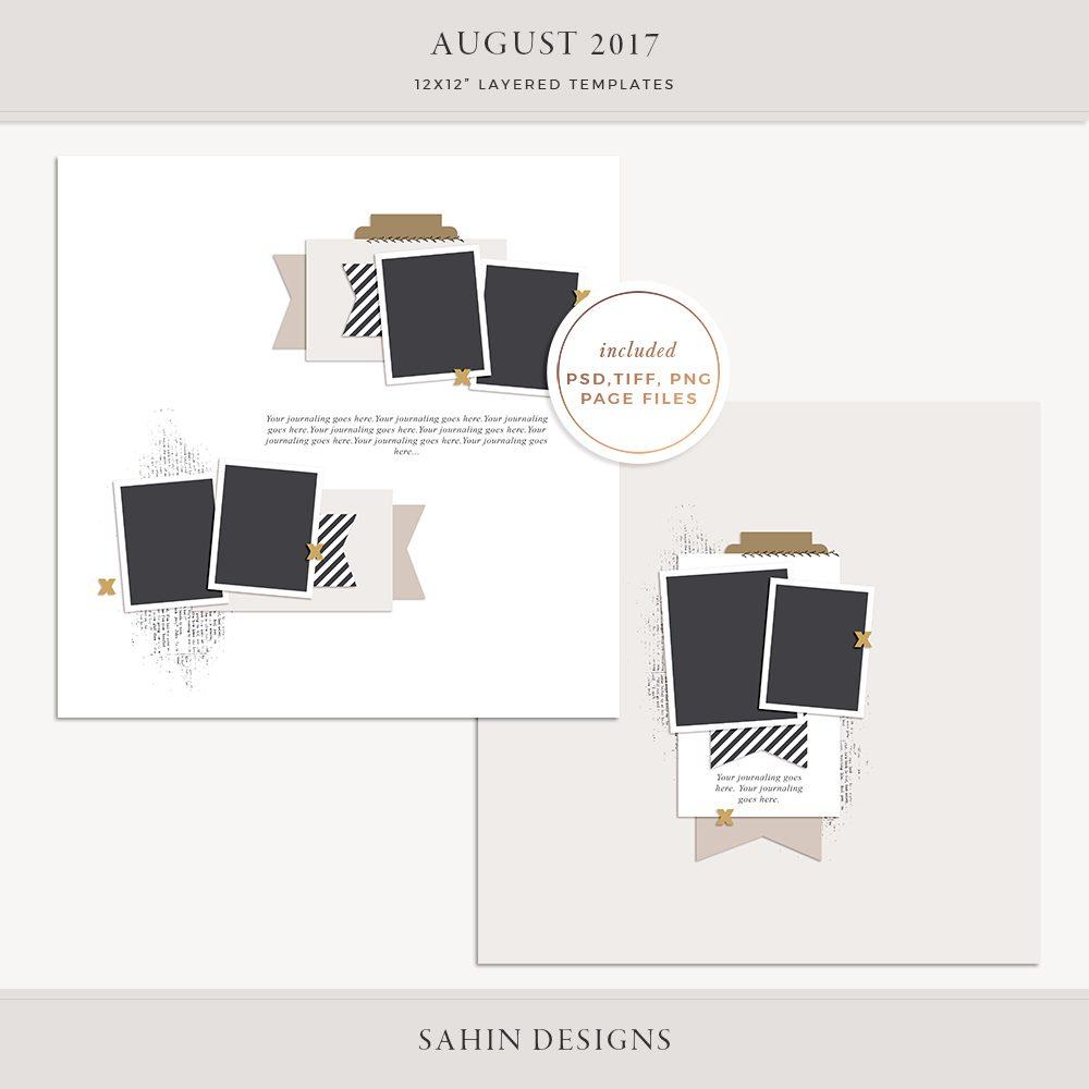 August 2017 Digital Scrapbook Layout Templates/Sketches - Sahin Designs