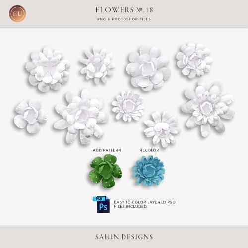 Extracted Handmade Layered Paper Flowers - Sahin Designs - CU Digital Scrapbooking