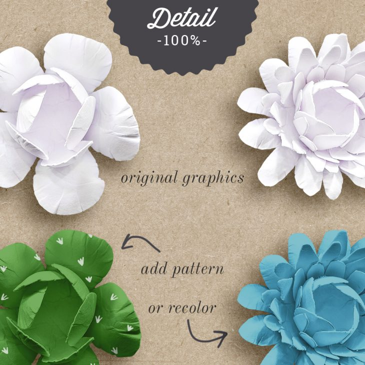 Extracted Handmade Layered Paper Flowers - Sahin Designs - CU Digital Scrapbooking