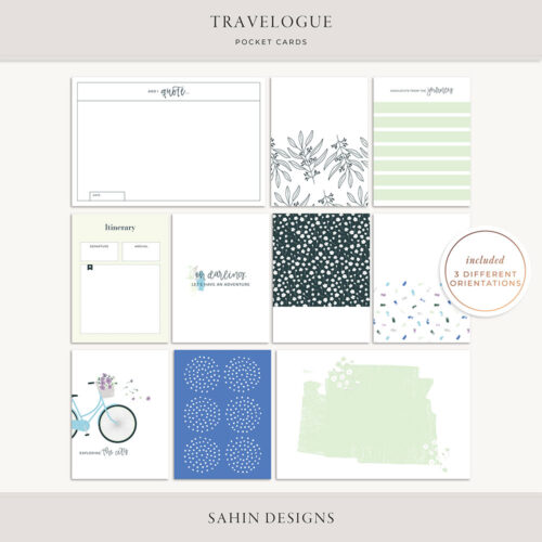 Travelogue Digital Scrapbook Cards - Sahin Designs