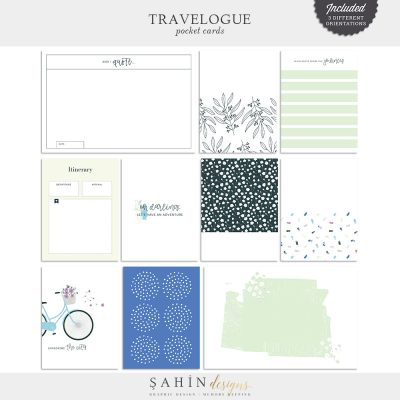Travelogue Digital Scrapbook Pocket Cards - Sahin Designs