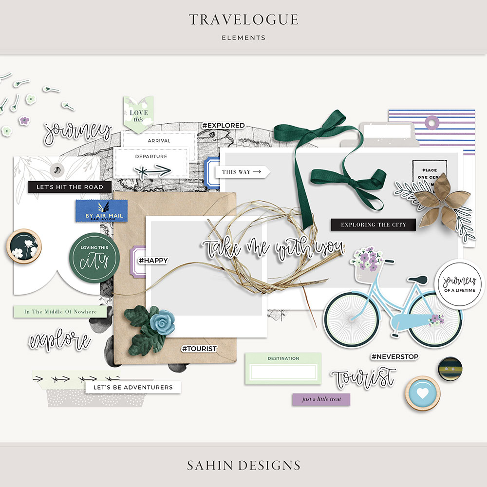 Travelogue Digital Scrapbook Elements - Sahin Designs