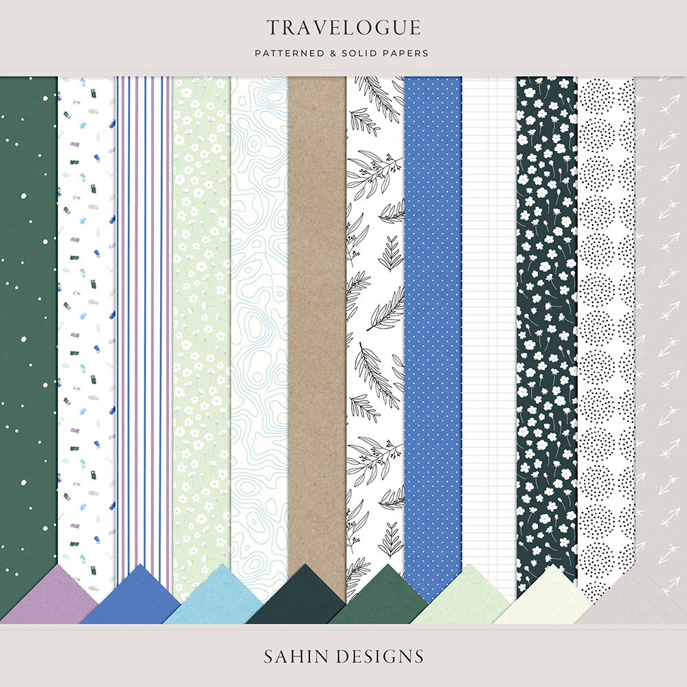 Travelogue Digital Scrapbook Papers - Sahin Designs