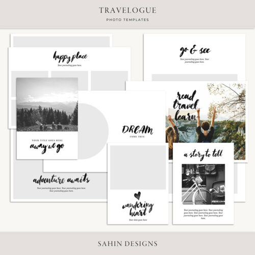 Travelogue Digital Scrapbook Photo Templates - Sahin Designs