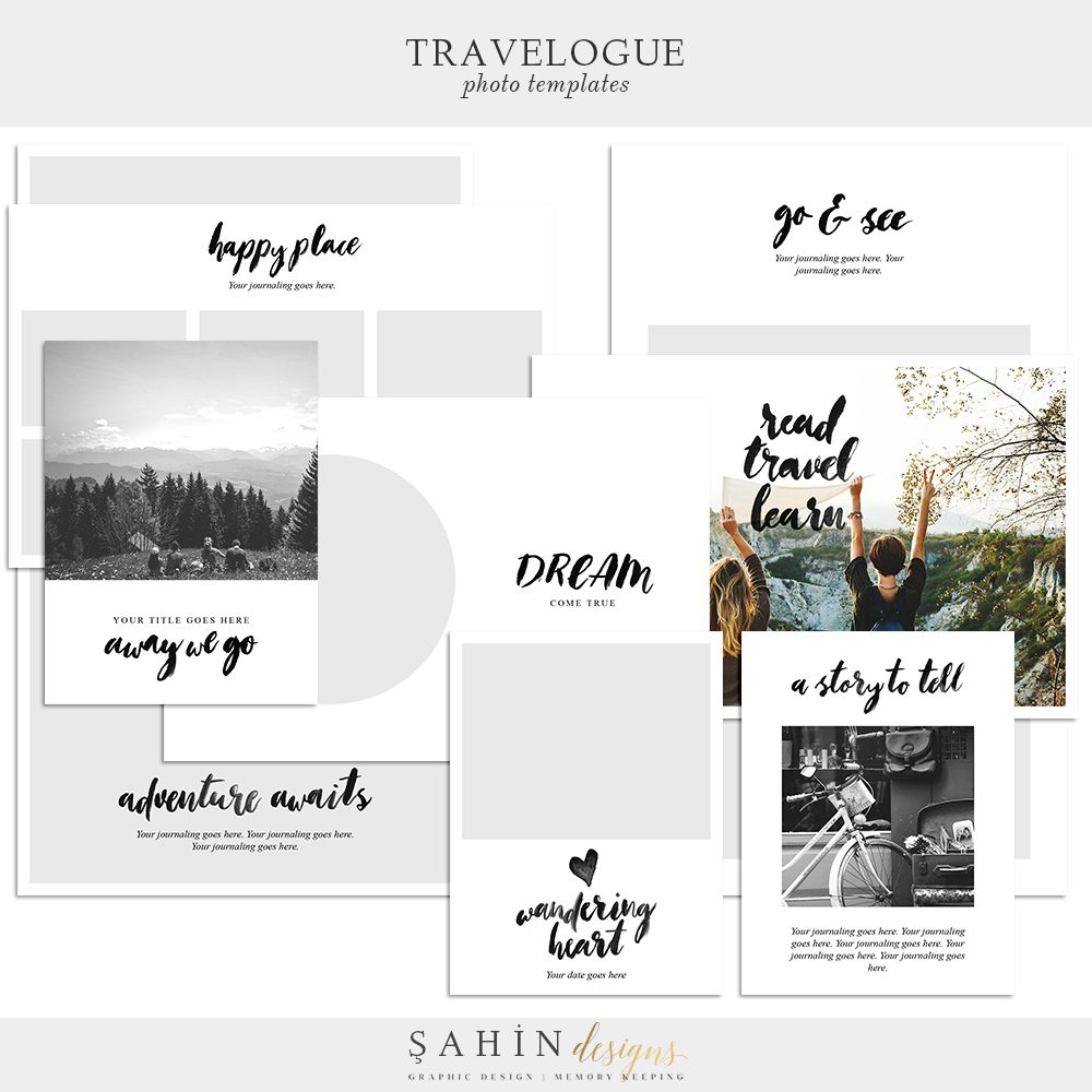 Travelogue Digital Scrapbook Photo Templates - Sahin Designs