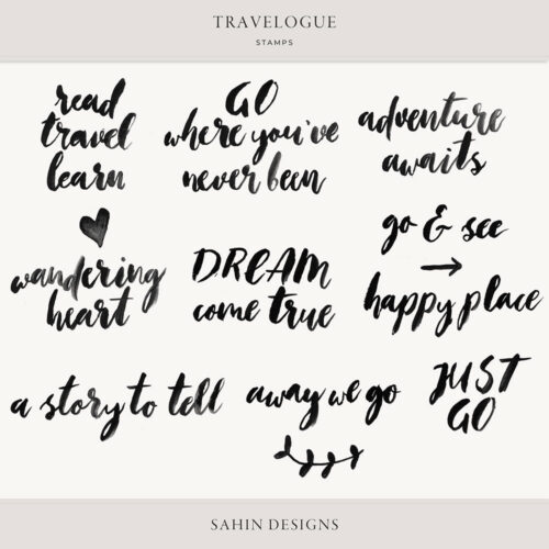 Travelogue Digital Scrapbook Stamps - Sahin Designs