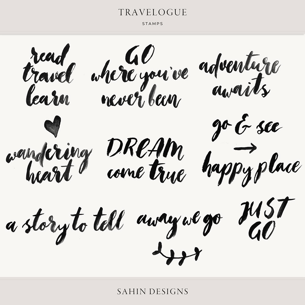 Travelogue Digital Scrapbook Stamps - Sahin Designs