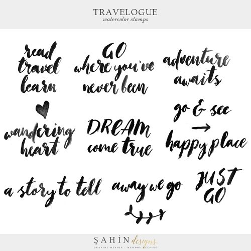 Travelogue Digital Scrapbook Watercolor Stamps - Sahin Designs