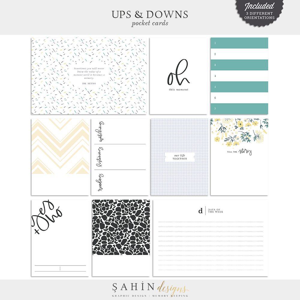 Ups & Downs Digital Scrapbook Pocket Cards   Sahin Designs