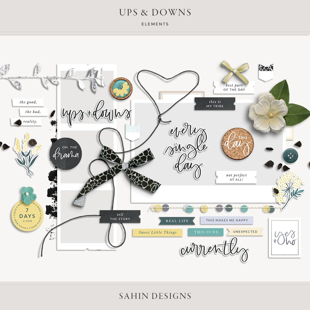 Ups & Downs Digital Scrapbook Elements - Sahin Designs
