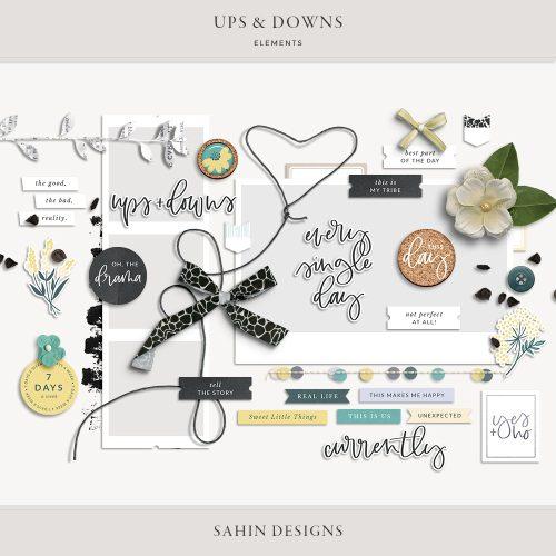 Ups & Downs Digital Scrapbook Elements - Sahin Designs