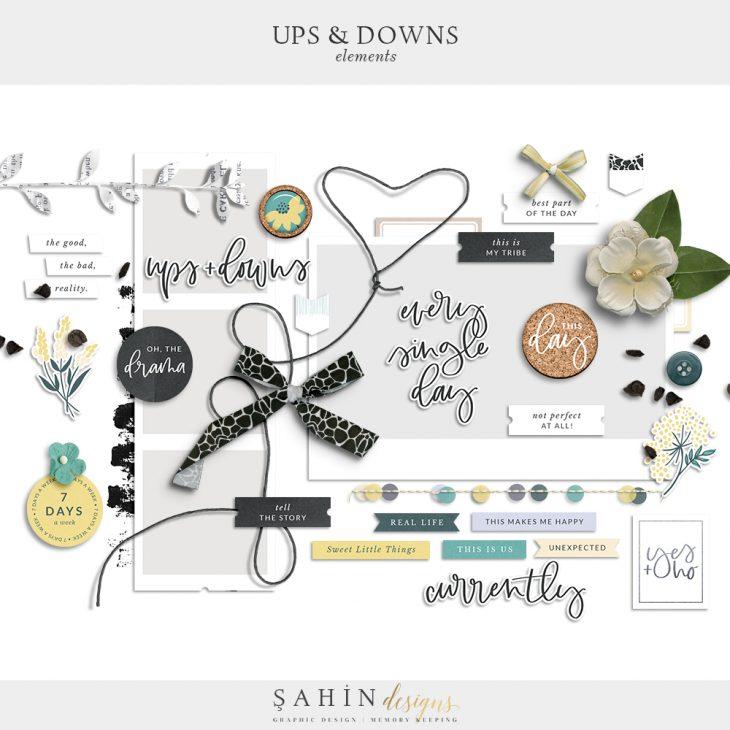 Ups & Downs Digital Scrapbook Elements | Sahin Designs