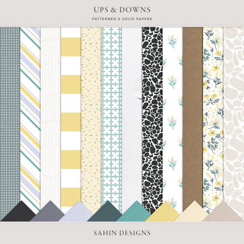 Ups & Downs Digital Scrapbook Papers - Sahin Designs