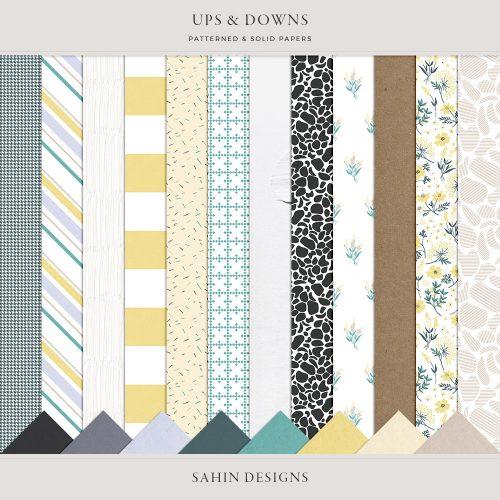 Ups & Downs Digital Scrapbook Papers - Sahin Designs