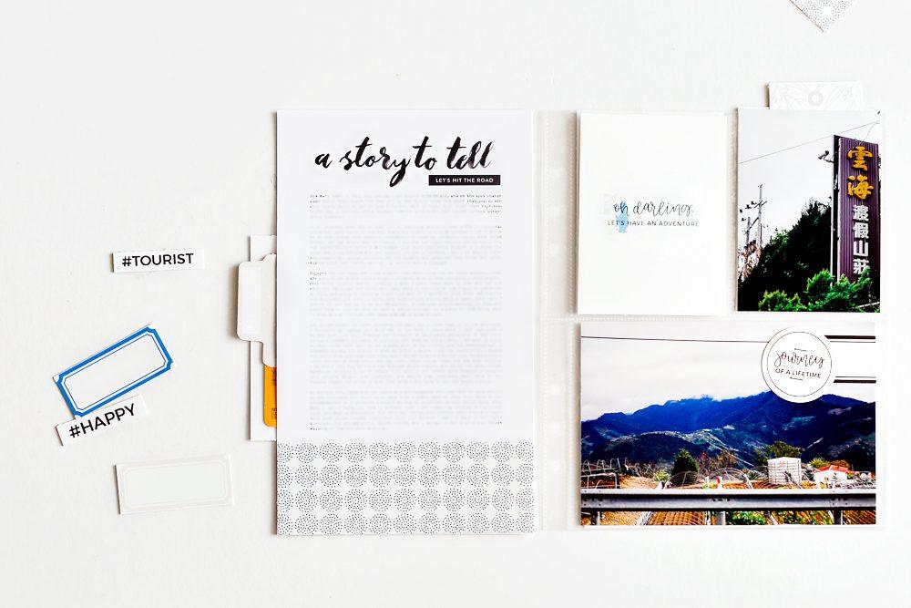 Travel Pocket Scrapbook Layout - Sahin Designs