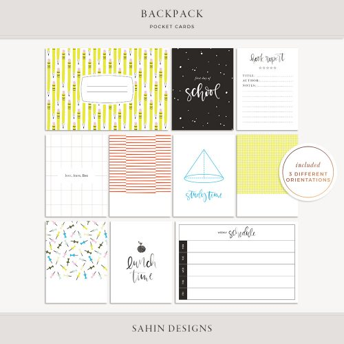 Backpack Digital Scrapbook Pocket Cards - Sahin Designs