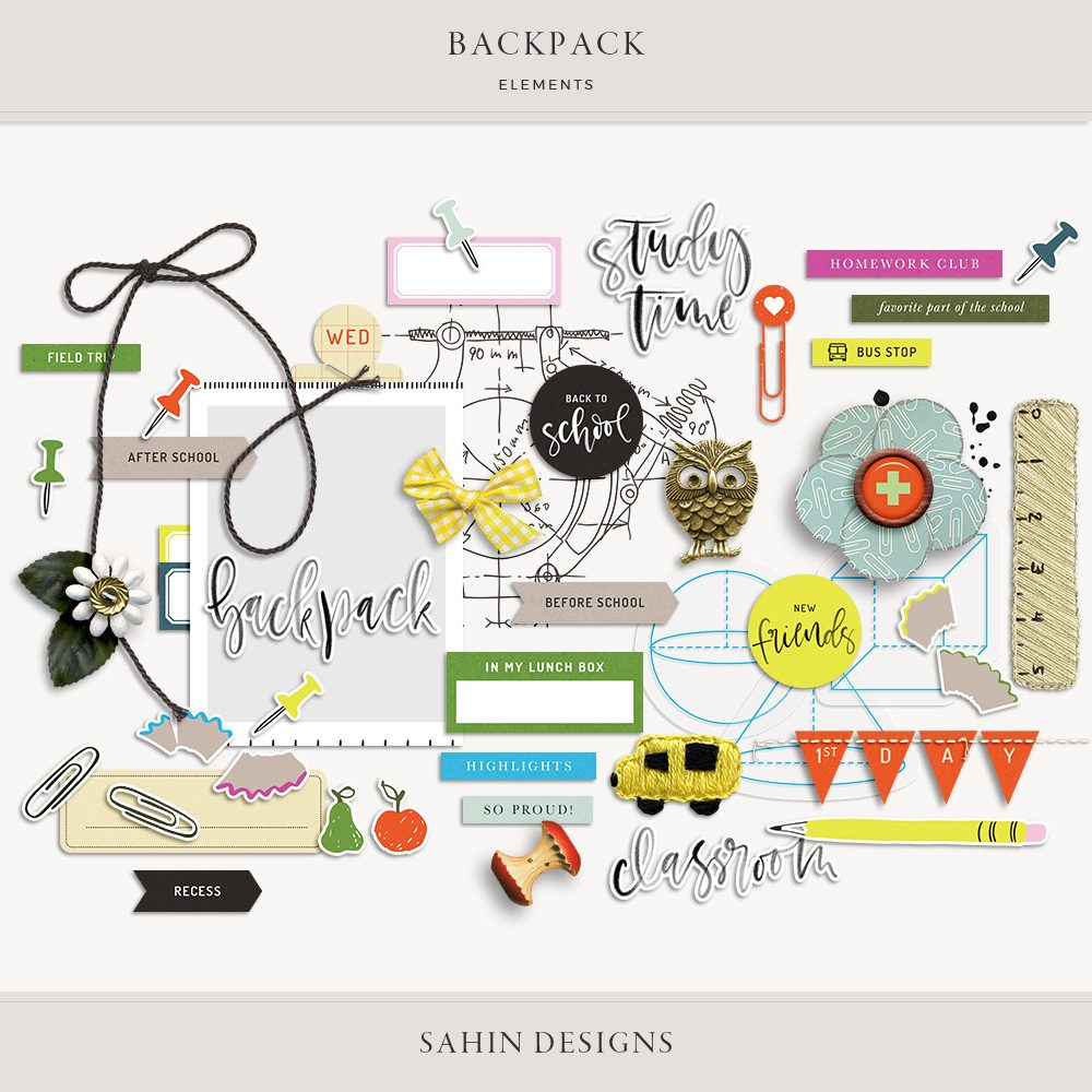 Backpack Digital Scrapbook Elements - Sahin Designs