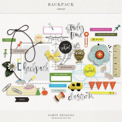 Backpack Digital Scrapbook Elements - Sahin Designs