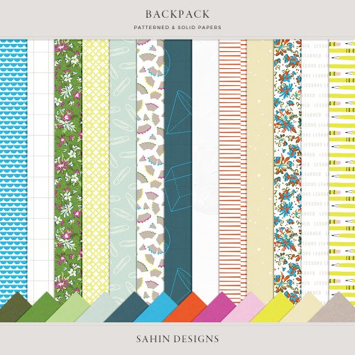 Backpack Digital Scrapbook Papers - Sahin Designs