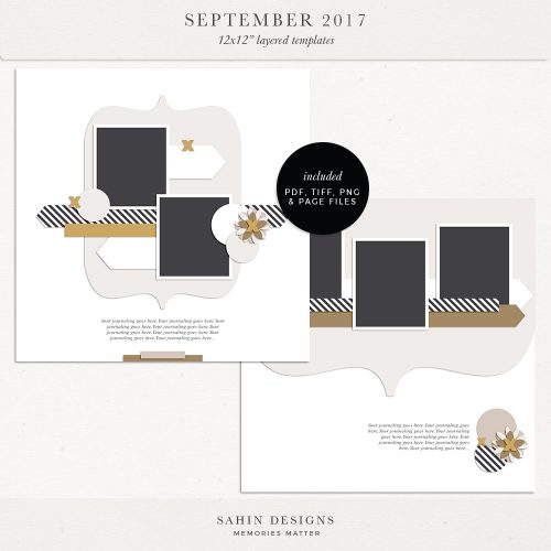 September 2017 Digital Scrapbook Layout Templates/Sketches - Sahin Designs