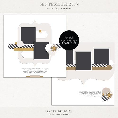 September 2017 Digital Scrapbook Layout Templates/Sketches - Sahin Designs