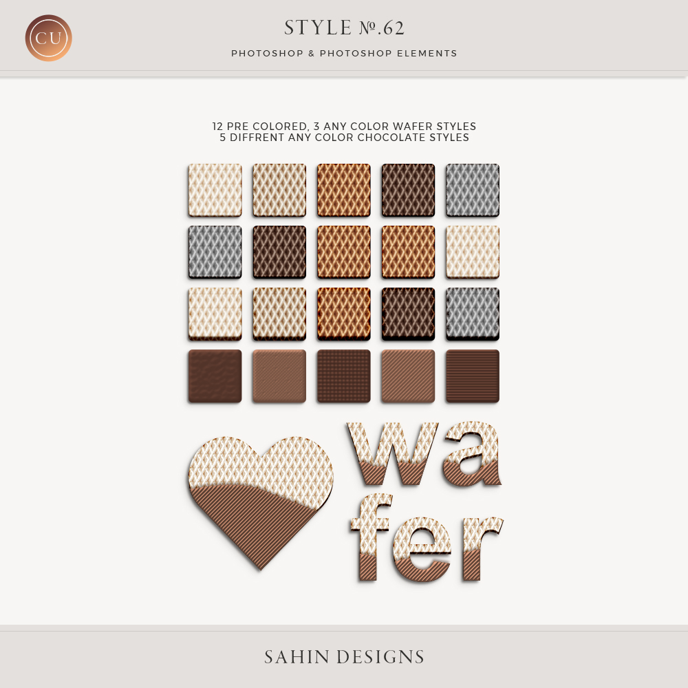 Wafer and chocolate Photoshop layer styles - Sahin Designs - CU Digital Scrapbooking