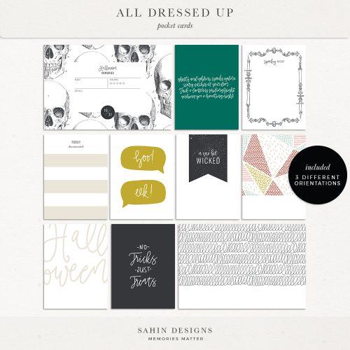 All Dressed Up - Halloween Digital Scrapbook Pocket Cards - Sahin Designs