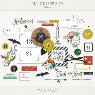 All Dressed Up - Halloween Digital Scrapbook Elements - Sahin Designs