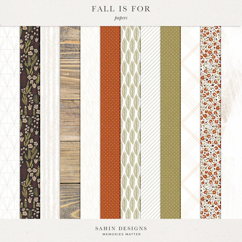 Fall Is For Digital Scrapbook Papers - Sahin Designs