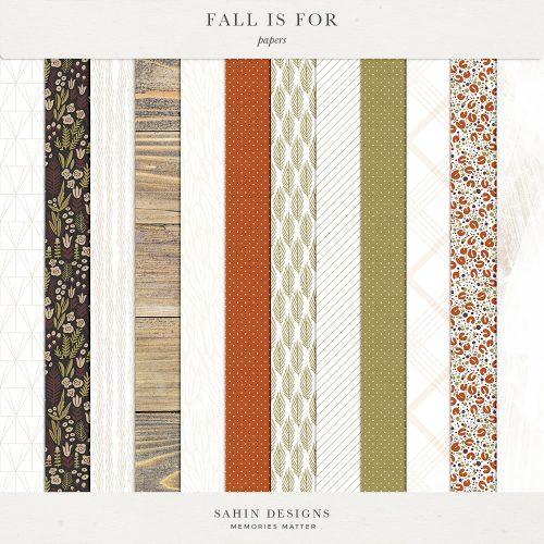 Fall Is For Digital Scrapbook Papers - Sahin Designs