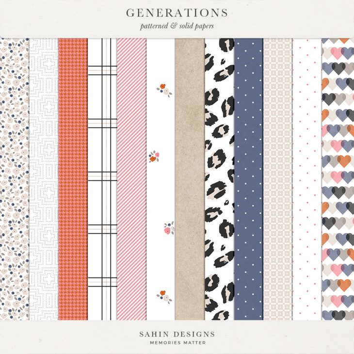 Generations Digital Scrapbook Papers - Sahin Designs